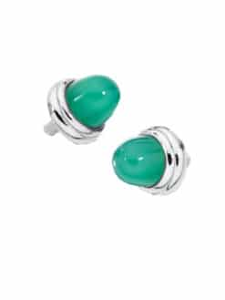 Green Agate Sterling Silver Caps for Personalized Bangles