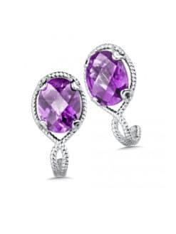 Sterling Silver Amethyst Post Earrings