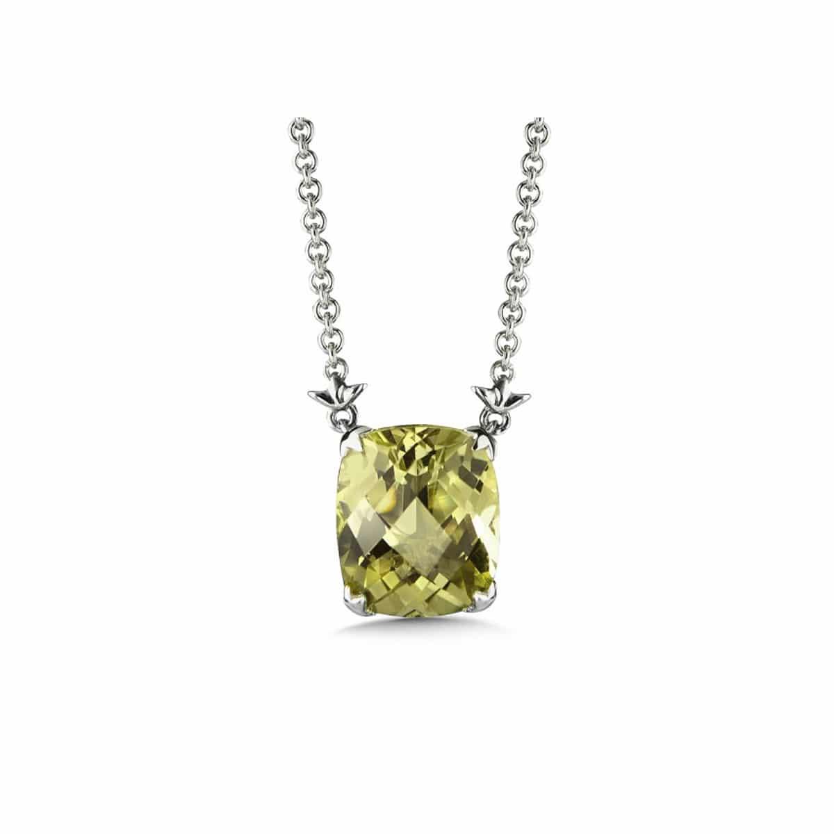 Sterling Silver Green Gold Quartz Pendant