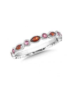 Sterling Silver Garnet and Pink Tourmaline Stacking Band