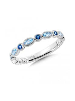 Sterling Silver Blue Topaz and London Blue Topaz Stacking Band