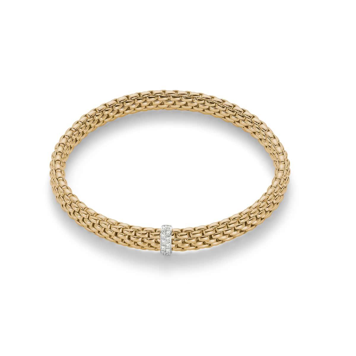 Fope 18K Yellow Gold Flex‰'it Vendome Bracelet with Diamond