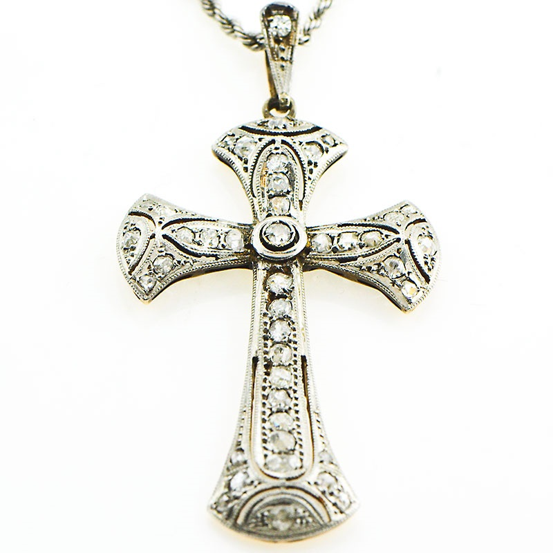 Estate 18k white gold old cut diamond cross necklace with rope chain home jewelry aloadofball Image collections