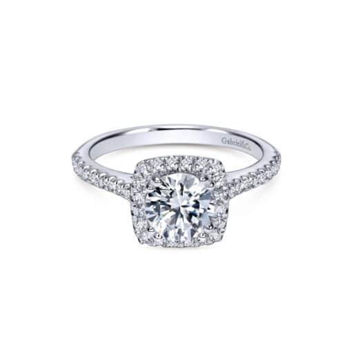 Gabriel 14k White Gold Round Lyla Halo Engagement Ring