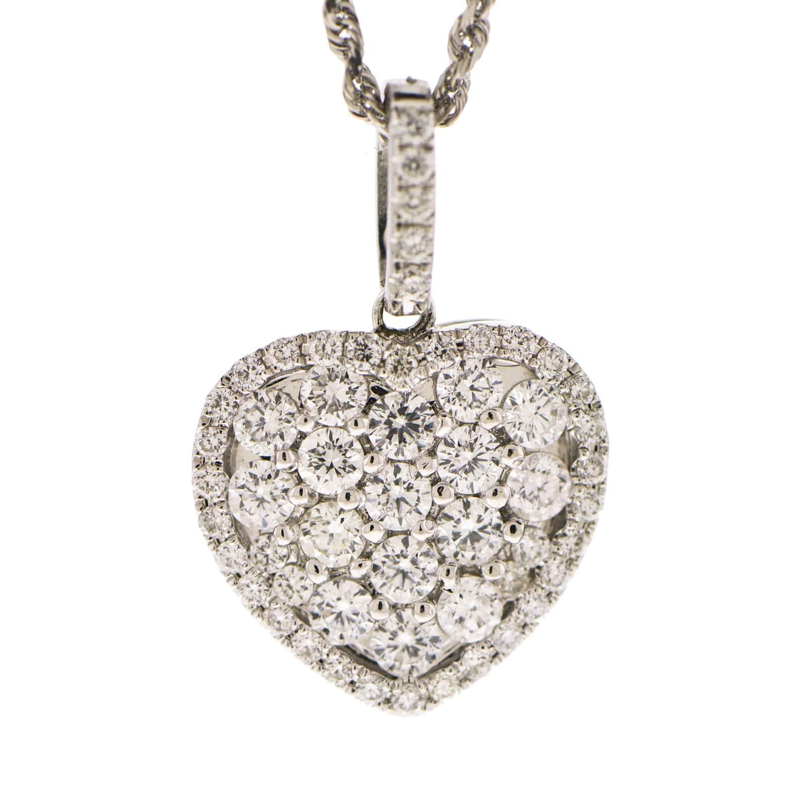 Little Treasury Jewelers 18k White Gold Diamond Heart Pendant