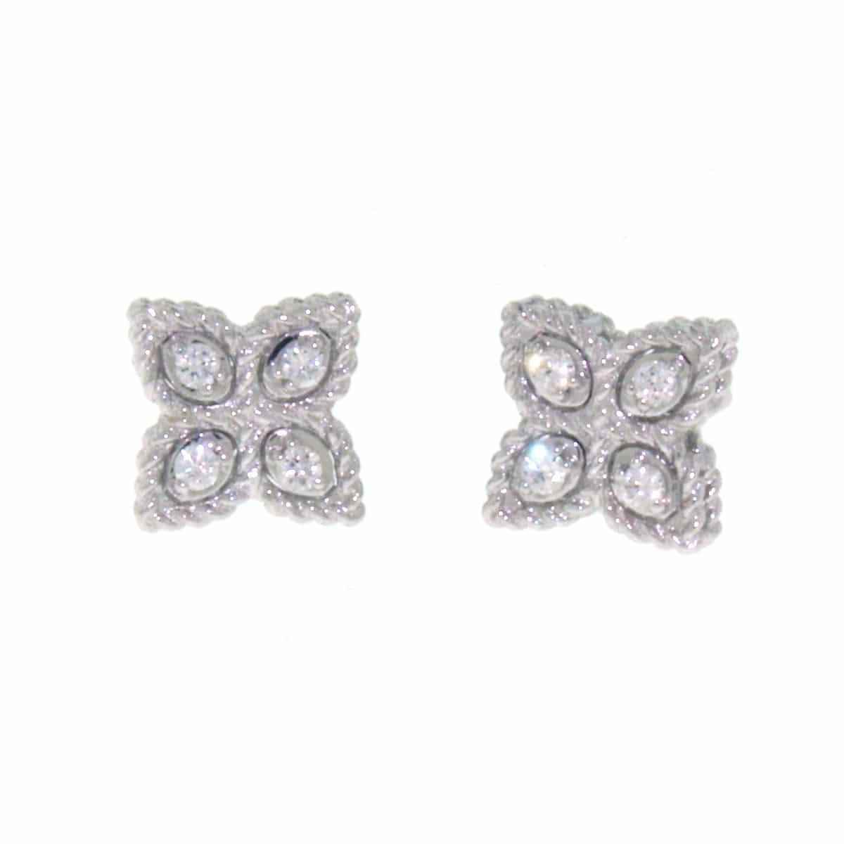 18k White Diamond Princess Flower Earring