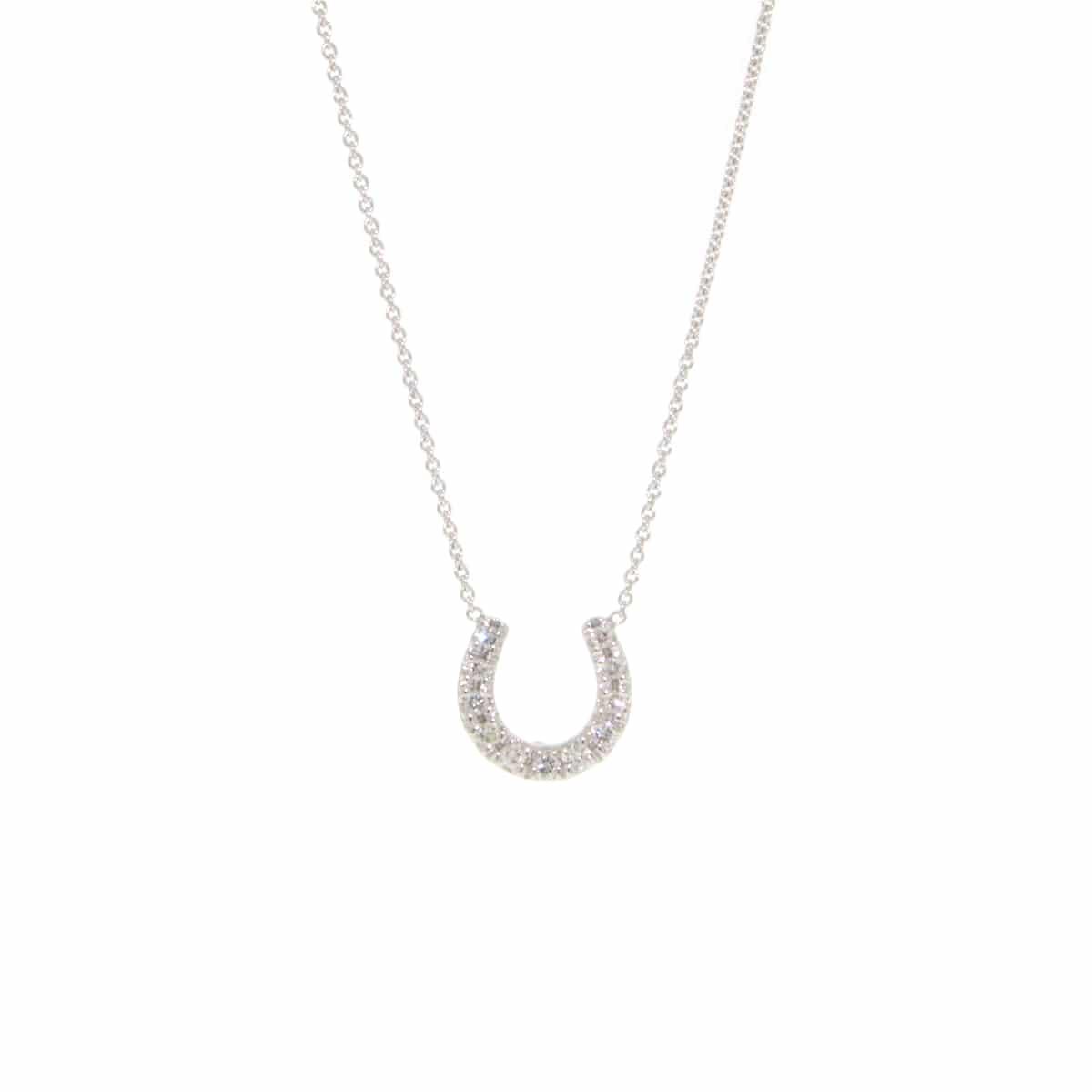 18k White Gold Horseshoe Necklace with Diamonds