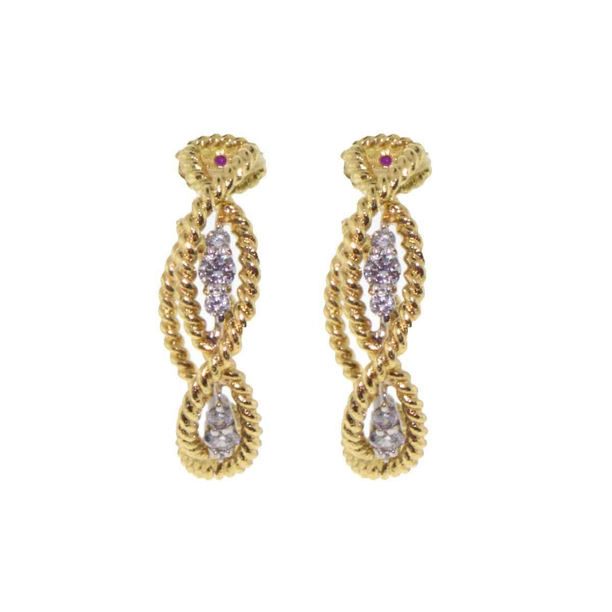 18k Yellow Gold Barocco Diamond Earrings