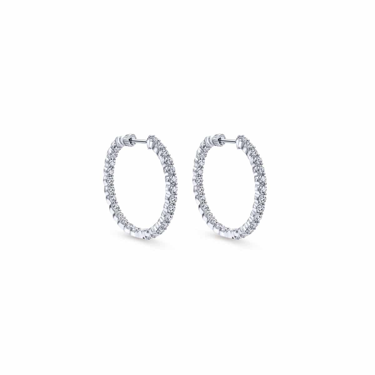 14k White Gold 30MM Classic Hoop Diamond Earrings