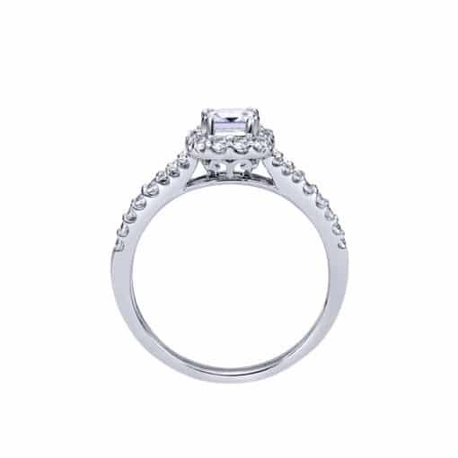 14k White Gold Princess Cut Halo Diamond Engagement Ring