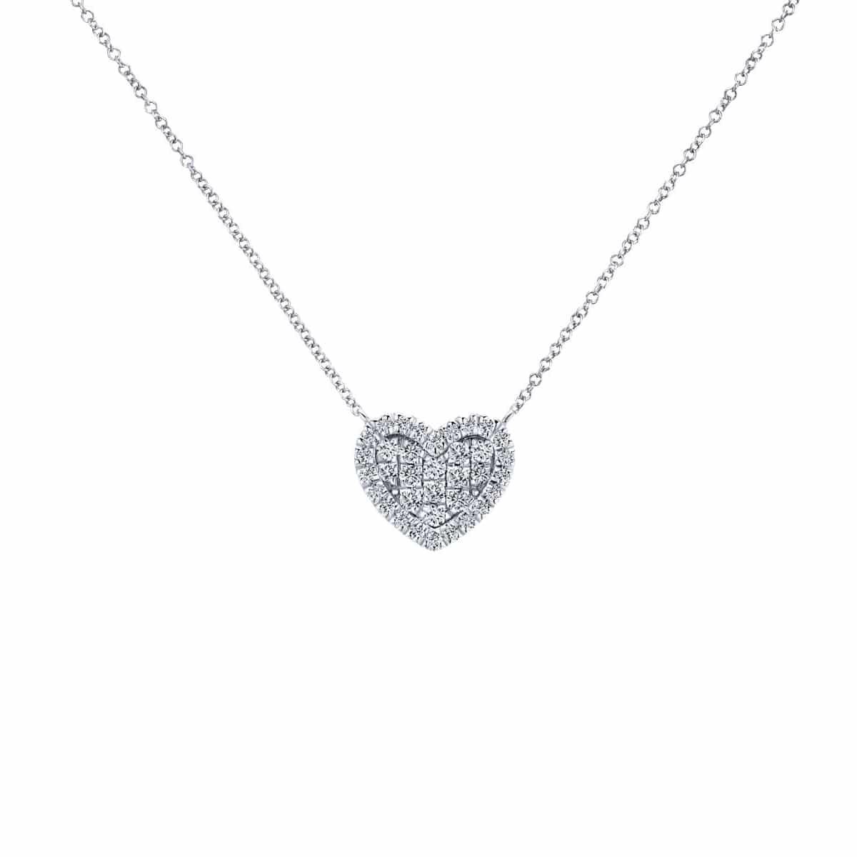 14k White Gold Heart Diamond Necklace