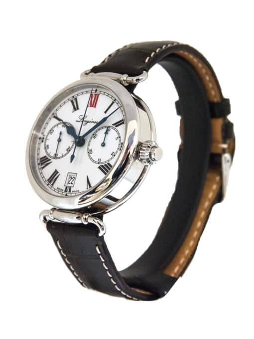 Pre-Owned Longines 180th Anniversary Heritage Monopusher Chronograph side