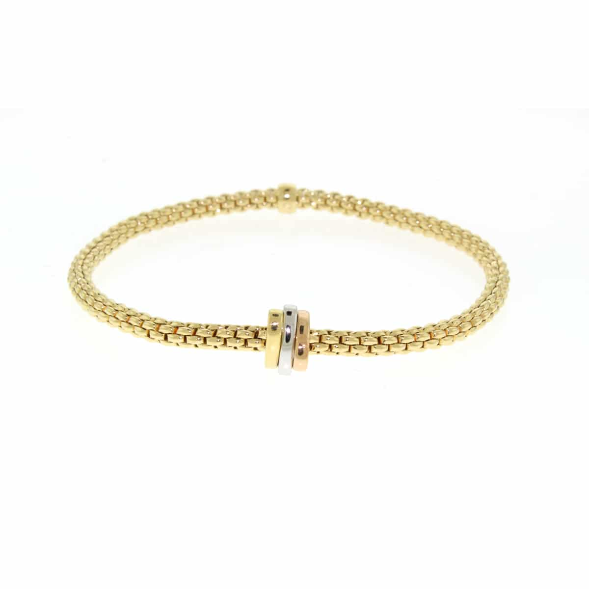 Fope 18k Yellow Gold Flex' It Bracelet with Three Plain Rondels