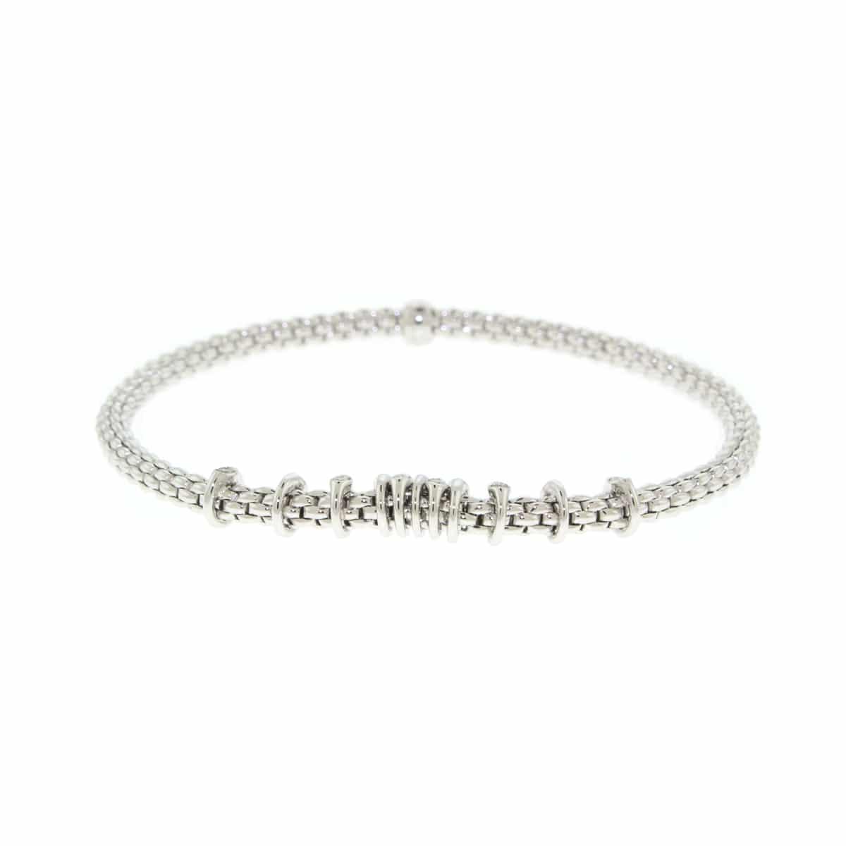 Fope 18k White Gold Flex' It Prima link Bracelet with Diamonds