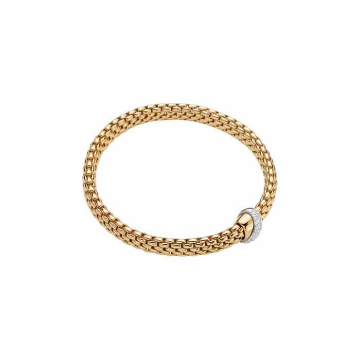 Fope 18K Yellow Gold Flex'it Vendome Bracelet, Dia 0.20ctw