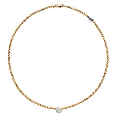 18KY Eka Tiny Diamond 0.22ctw necklace by Fope