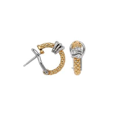 Fope 18KY Flex'it Prima Yellow Gold Diamond Hoop Earrings